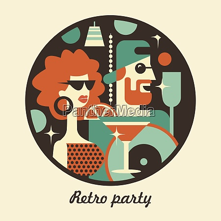 retro party poster vector illustration in