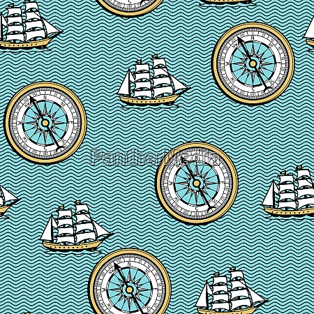 seamless pattern with old nautical map