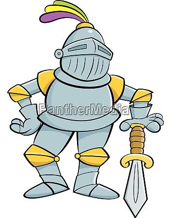 cartoon illustration of a knight leaning