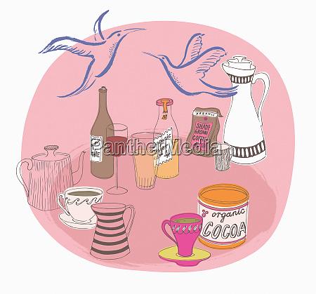 udvalg af okologiske drikkevarer