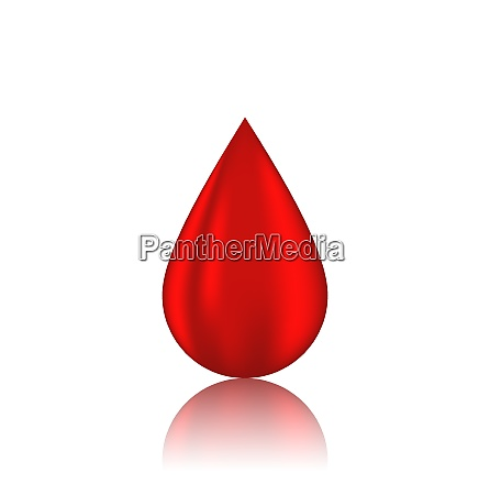 illustration red blood drop with reflection