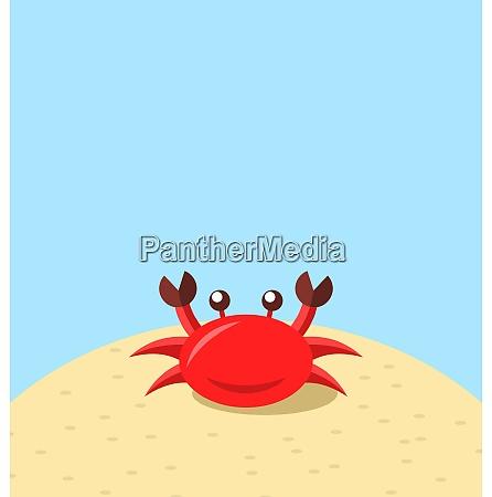 illustration cartoon cheerful crab at the