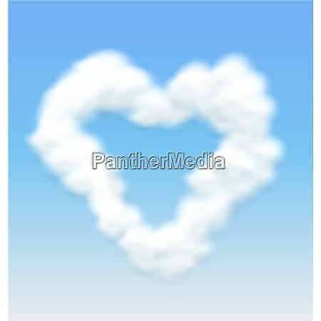 fluffy clouds shaped heart border on