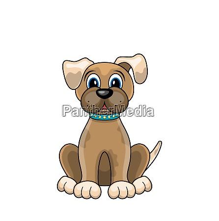 cartoon dog sitting in collar isolated
