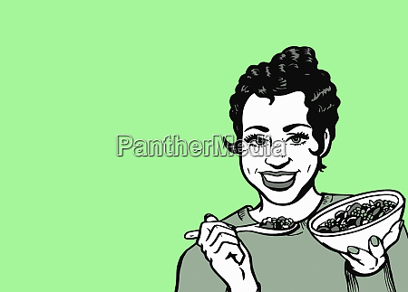 munter kvinde spiser sundt korn