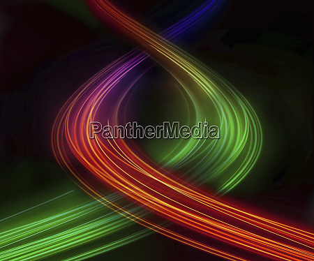 intertwined multi coloured light trails