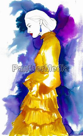 fashion illustration af kvinde ifort frilly