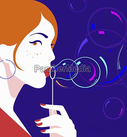 smuk kvinde blaeser bobler