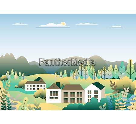 landsby landskab flad vektor so bjerge
