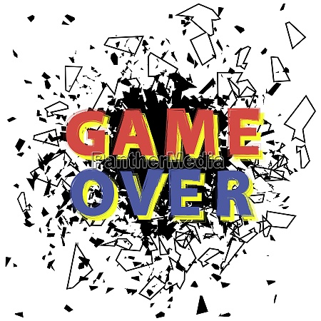retro game over sign with explosion