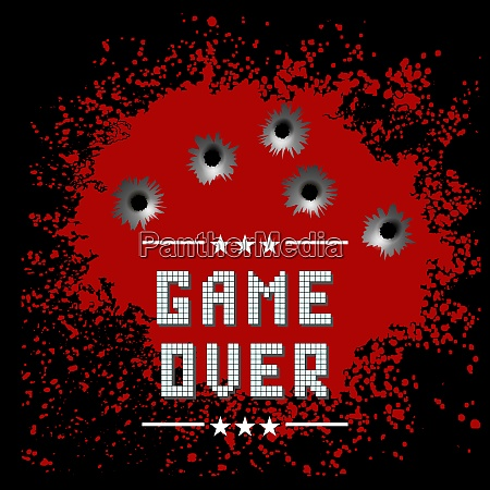 retro game over sign with red