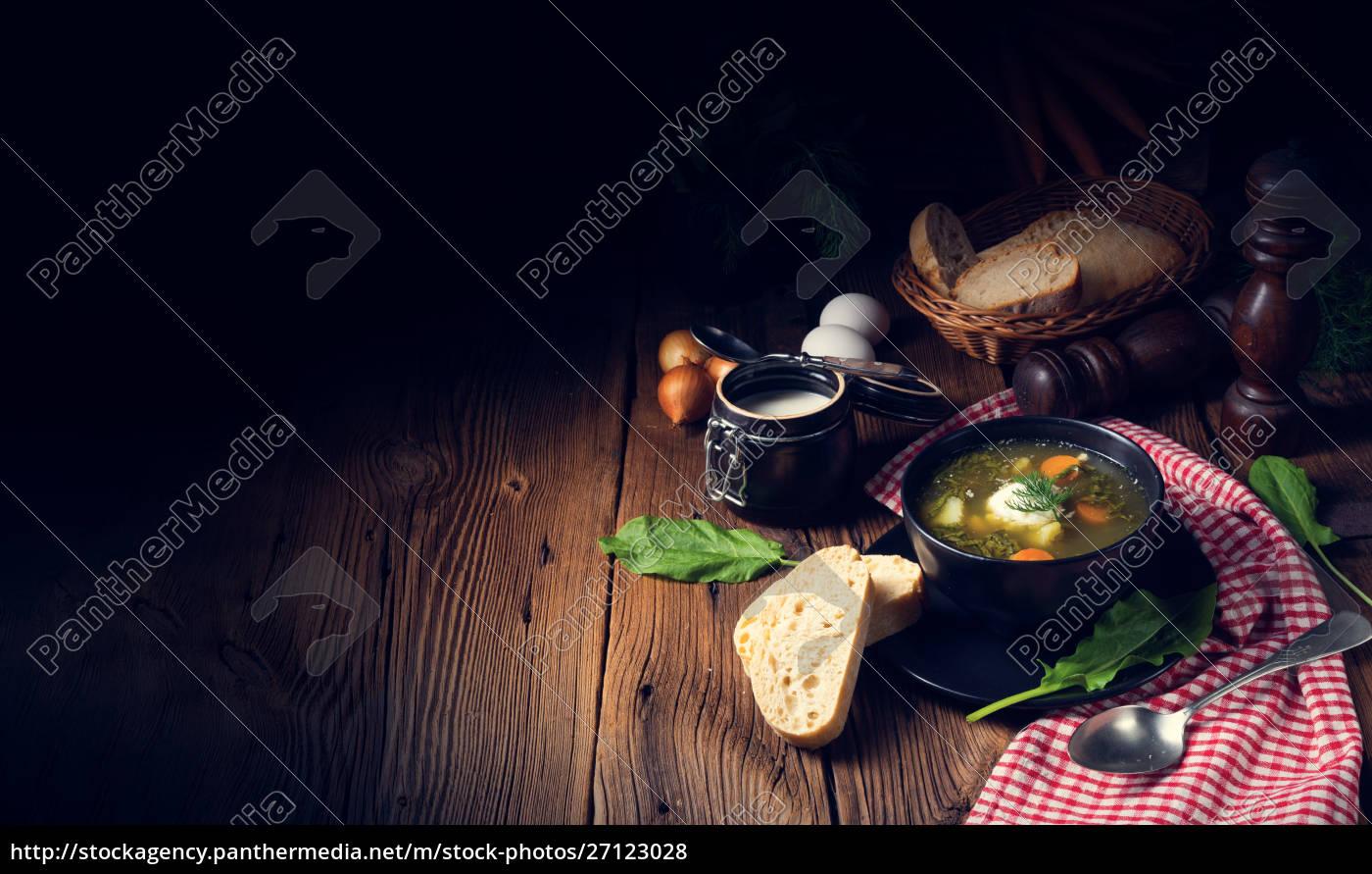 rustikal, sorrel, suppe, med, kartofler, og - 27123028