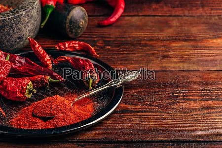 malet og torret chili peber pa