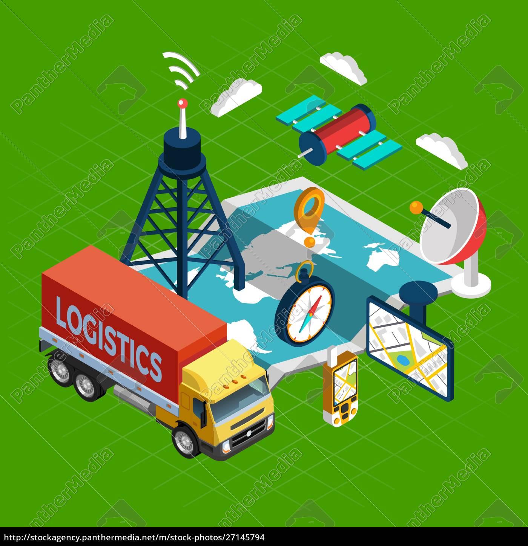 navigation, begreb, hos, logistik, og, satellit, symboler, på, grønne, baggrund, isometrisk - 27145794