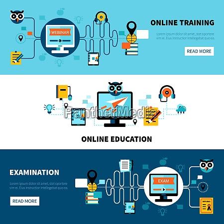 flad vandret online uddannelse bannere samling