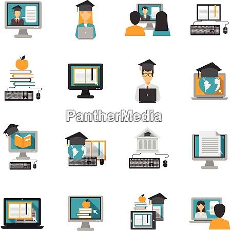 e learning og online kundskab iconerne