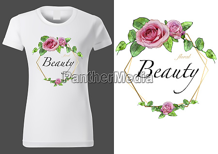 white t shirt with floral pattern