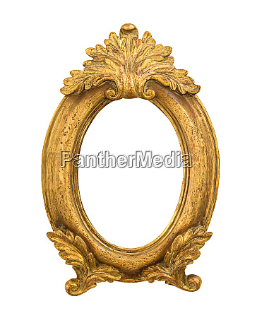 oval golden decorative picture frame isolated