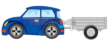 vector illustration af personbilen med trailor