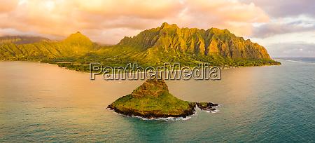 panorama luftfoto af mokolii island kaneohe