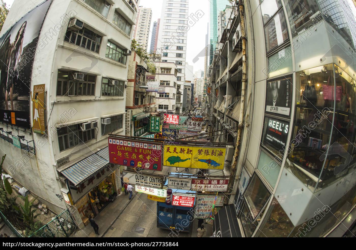 kina, hong, kong, street, scene, af, tegn, på - 27735844