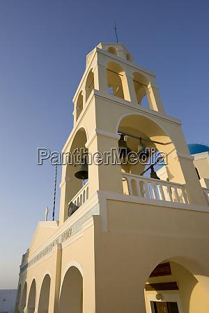 grækenland, santorini, thira, oia., gul, facade, og, klokketårn, i - 27756906