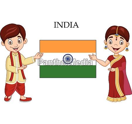 cartoon indiske par ifort traditionelle kostume