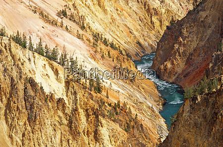 yellowstone river og canyon fra grandview