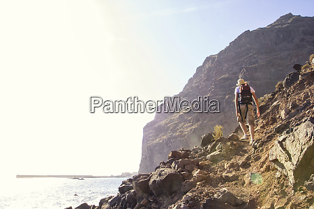 rear view of hiker at the