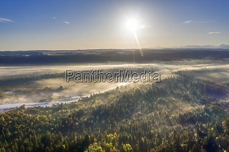 tyskland bayern oberbayern naturreservatet isarauen luftfoto