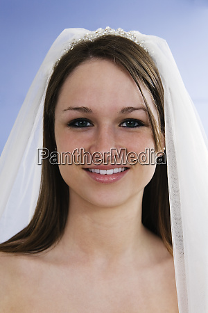 portrait of a young bride smiling