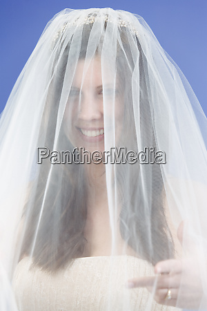 view of a young bride smiling