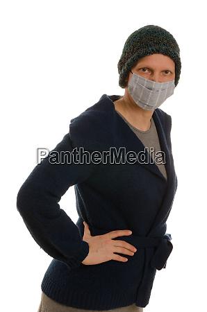 kvinde, med, mundbeskyttelse, og, maske - 28231694