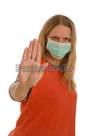 kvinde, med, mundbeskyttelse, og, maske - 28232117