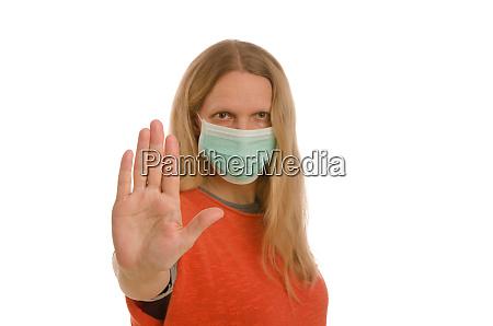 kvinde, med, mundbeskyttelse, og, maske - 28232138