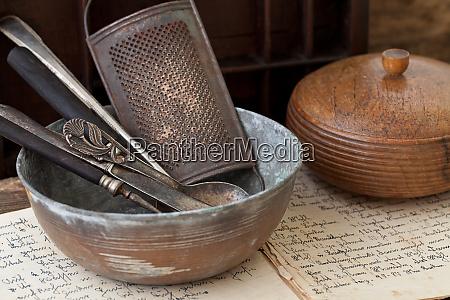 nostalgisk kokken redskaber still life