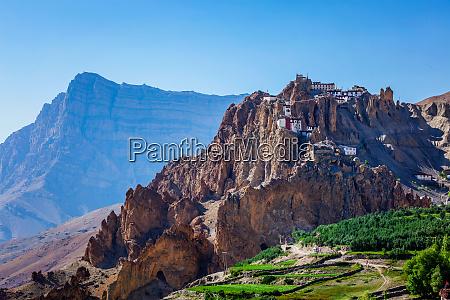 dhankar gompa monastery on cliff in
