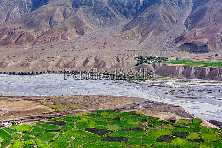 view of spiti valley with green