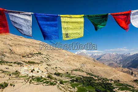 buddhist prayer flags lungta in spiti