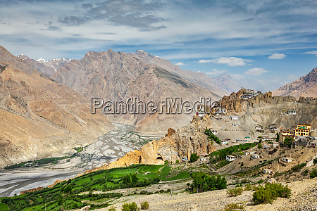 view of spiti valley and dhankar