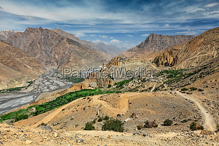 view of spiti valley in himalayas