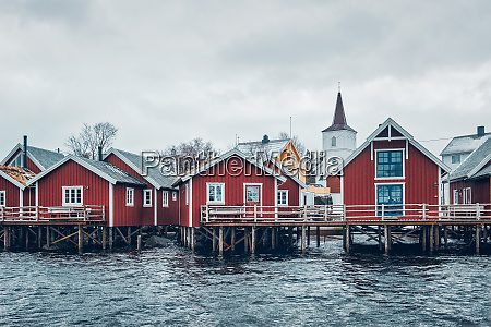 traditional red rorbu houses in reine