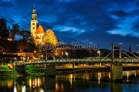 leprosenhauskirche church and mullner steg bridge