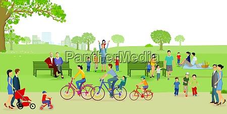 familier born par i parken