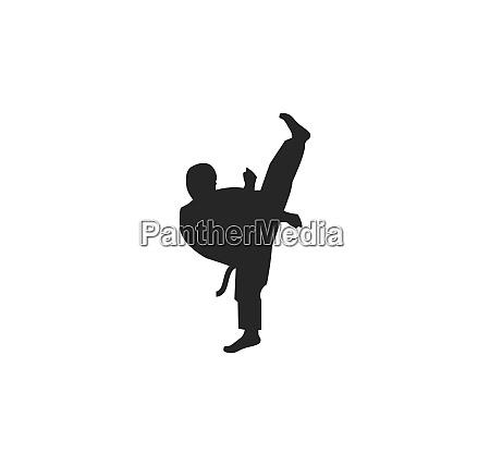 karate taekwondo kick logo vektor illustration