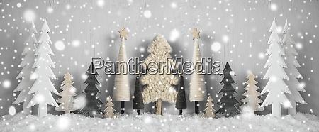 banner juletraeer sne gul baggrund glaedelig