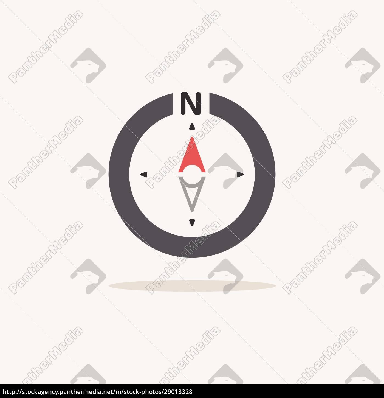 nordlig, retning., kompas., farveikon, med, skygge. - 29013328