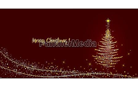 lykonskningskort juletrae skinner med guld