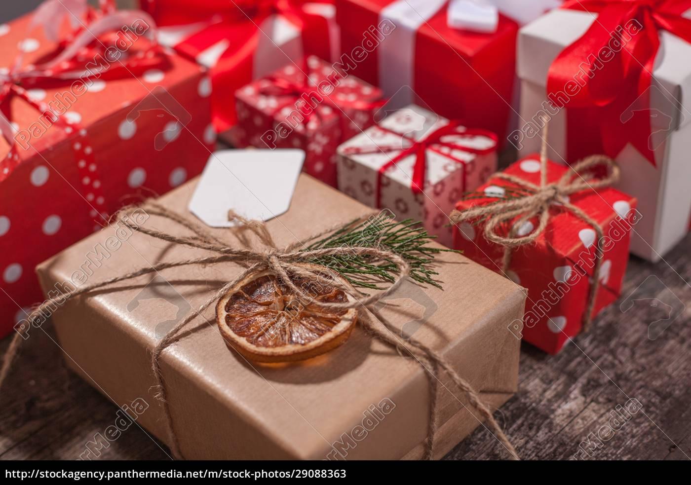 håndlavede, indpakket, julegave, kasser, på, fejre - 29088363