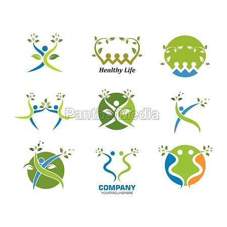 sundt liv mennesker logo skabelon vektor